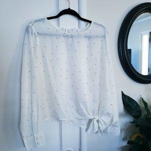 Socialite Nordstrom white with black dot blouse